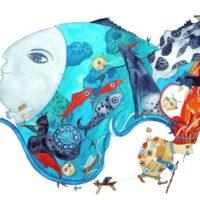 M. J. Eisen. Water Cows, 2011, watercolour, lead pencil, collage