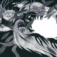 """Helen Käit. """"Kummitusmaja"""", Tänapäev, 2018, akvarell ja tušš"""
