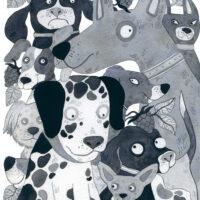 """Jana Maasik. """"Õnnekaare õed ja Vimkavennad"""", Tänapäev, 2020, akvarell ja tušš"""