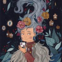 """Eia Uus. """"Seitsme maa ja mere taha"""", Postimees Kirjastus, 2019, akvarell ja tušš"""